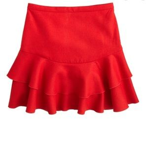 J Crew Flounce skirt 2 red ruffle